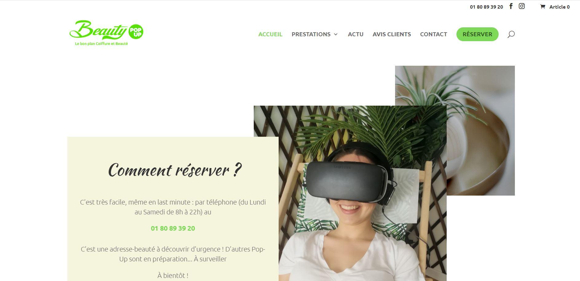 Création de site internet - Beauty Pop Up - Boulogne Billancourt